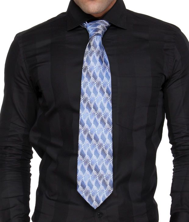 Marc Stylish Blue Wavy Silk Necktie