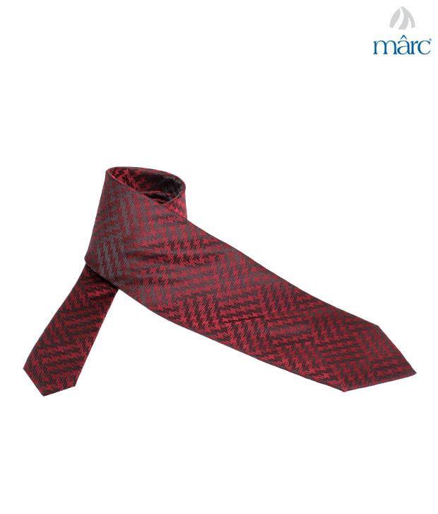 Marc Maroon Zigzag Wave Necktie