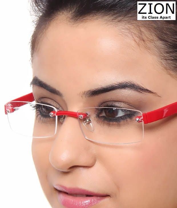 Rimless Glasses For Small Faces : Zion Funky Red Rimless Eyewear - Buy Zion Funky Red ...