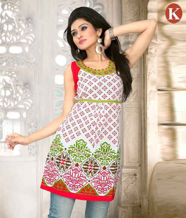 Khazana Stylish Red & White Kurti