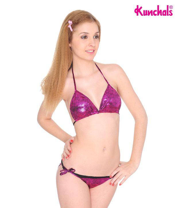 Kunchals Dark Pink Polyamide and Spandex Swimwear