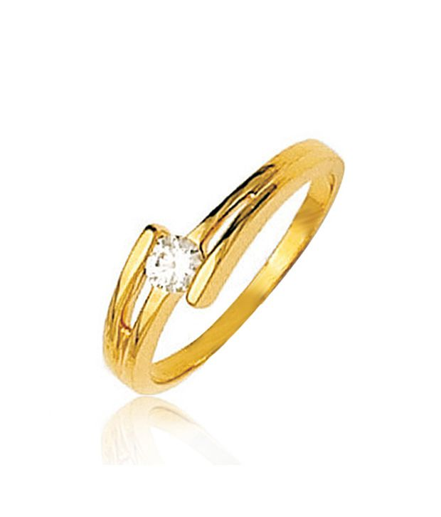 Bold Designer Solitaire Look Gold Ring