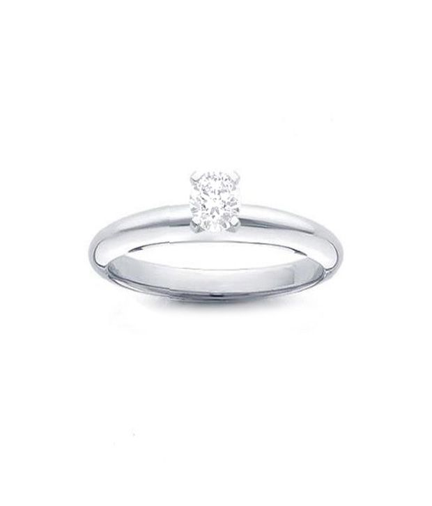 Bold Platinum Finish Solitaire Look Ring