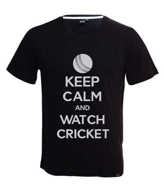 Rigo Black Keep Calm Cricket T-shirt