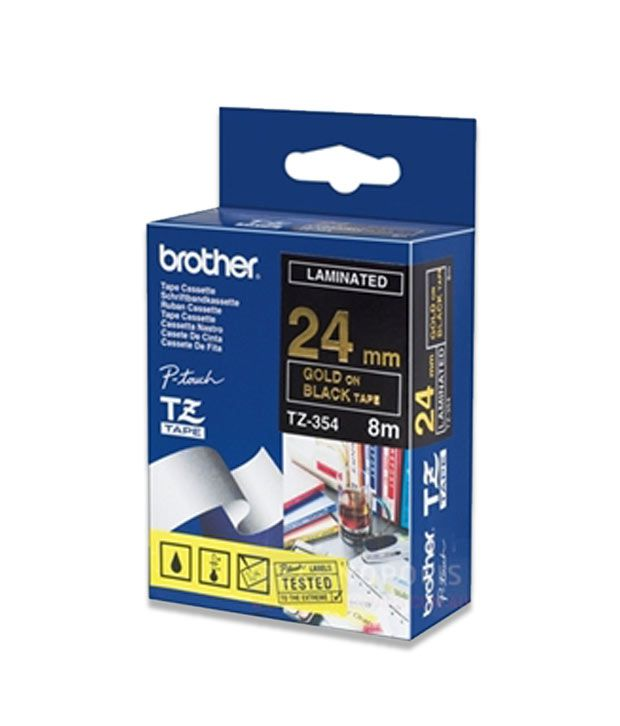 Brother (TZ354) Gold on Black Label for P-Touch Electronic Label Printers