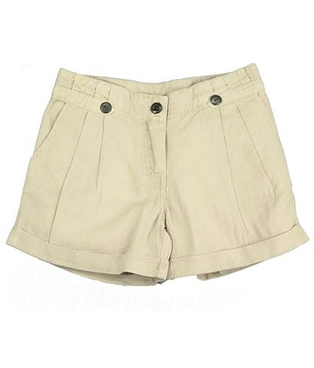 ShopperTree Beige Flex Shorts For Kids