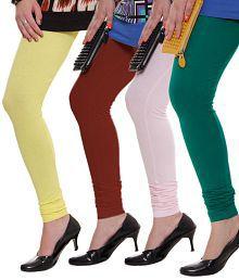 Rham Green-Lemon Yellow-Baby Pink-Maroon Pack of 4 Leggings
