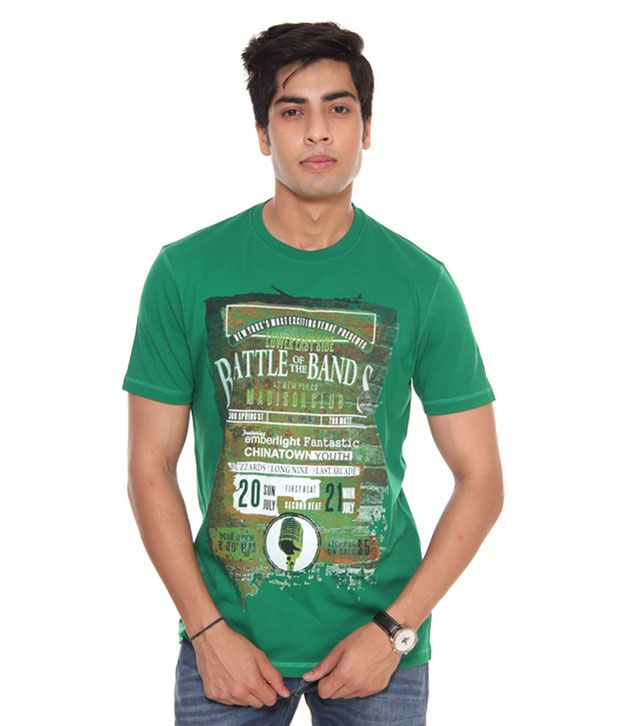 Raves Green Printed T-Shirt