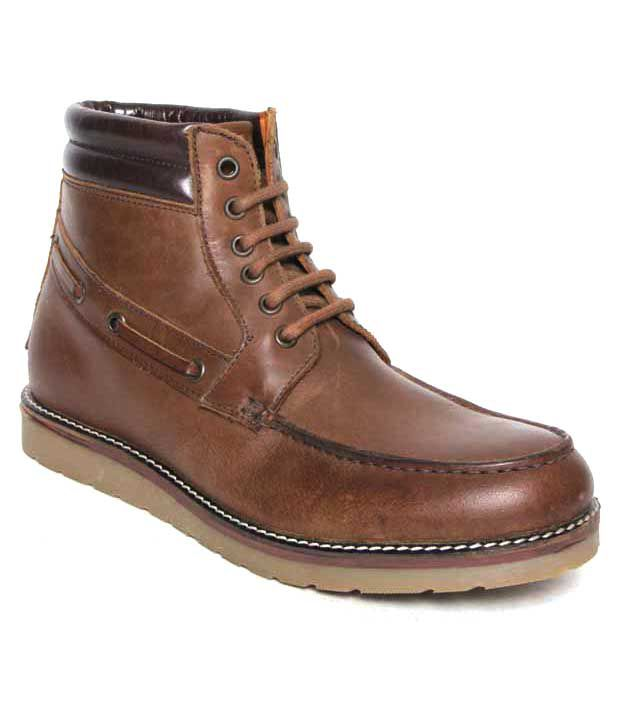 Franco Leone Tan High Ankle Length Boots
