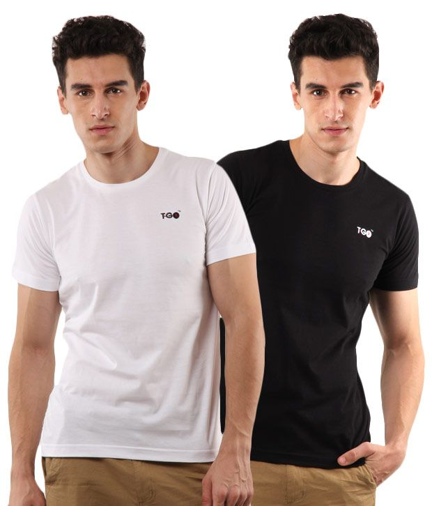 T-Go White-Black Pack of 2 T-Shirts