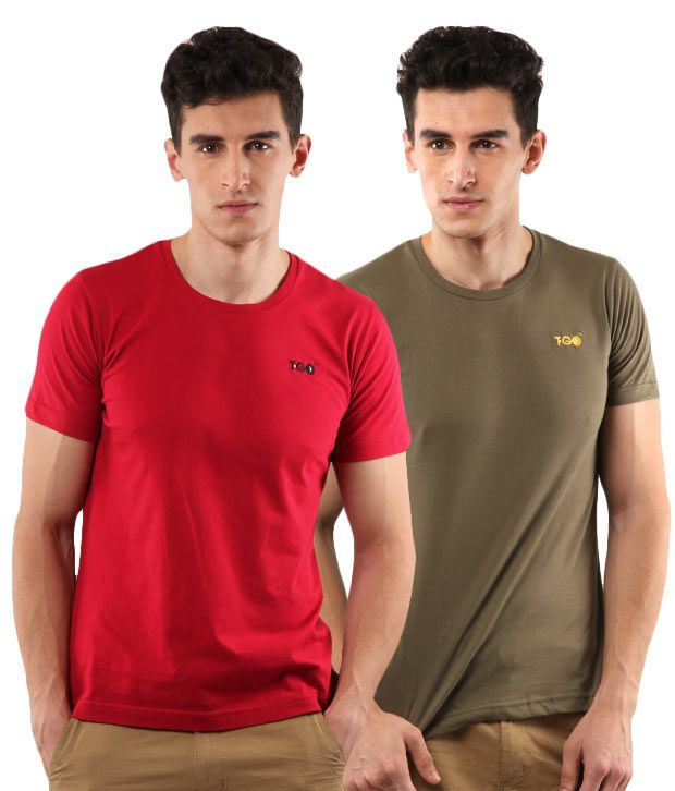 T-Go Red-Olive Pack of 2 T-Shirts