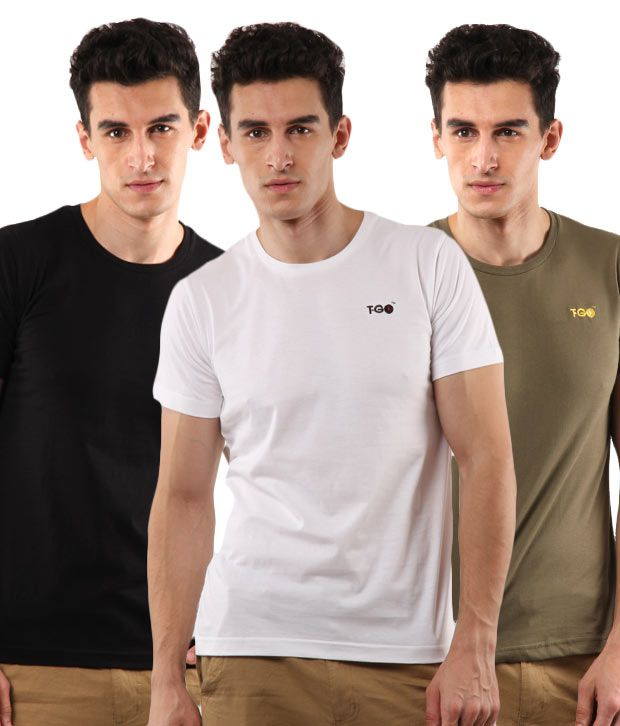 T-Go White-Black-Brown Pack of 3 T-Shirts