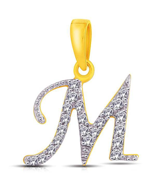 """Letter """"M"""" shaped Gold & Diamond Pendant By Me Jewels: Buy ..."""