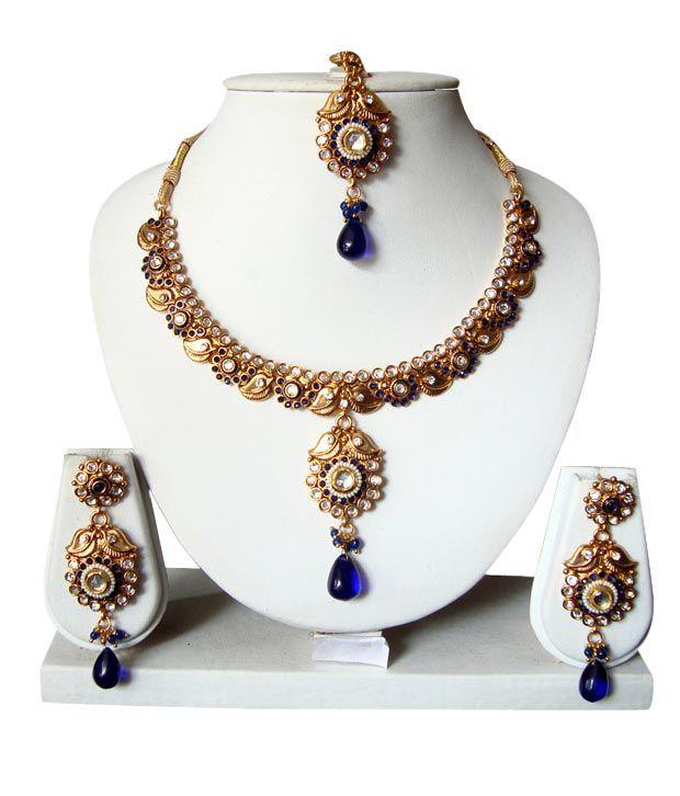 Adoreva Blue Drop Floral Necklace Set With Maang Tika 56