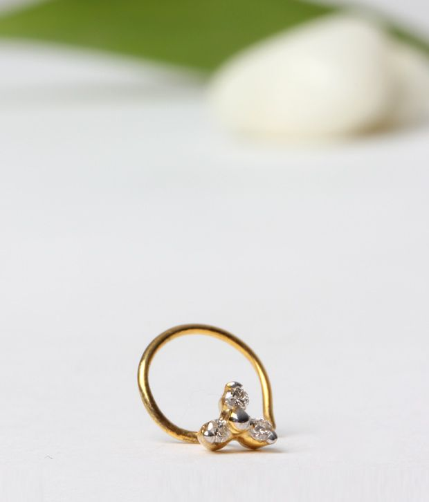AG 3 stone floral nose ring