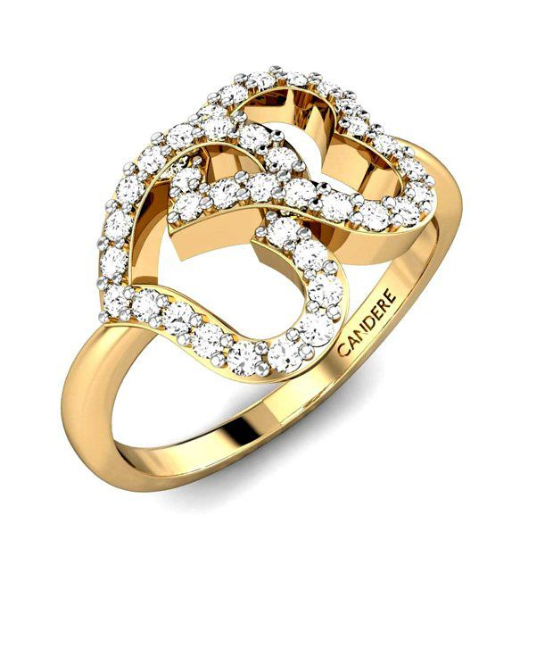 Candere Gold & Diamond Heartily Couple Diamond Ring