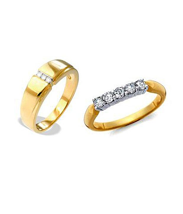 AG Gold Finish Diamond Couple Bands