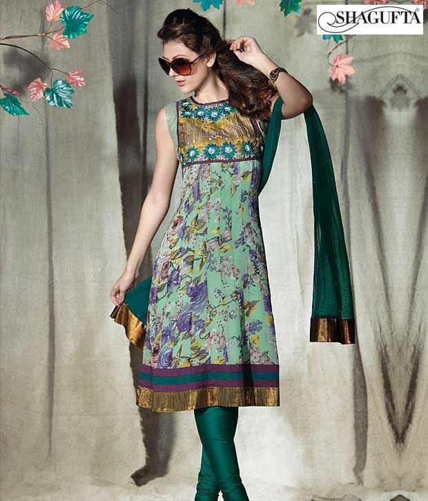 Shagufta Chanderi Banarasi Silk Suit-B-506