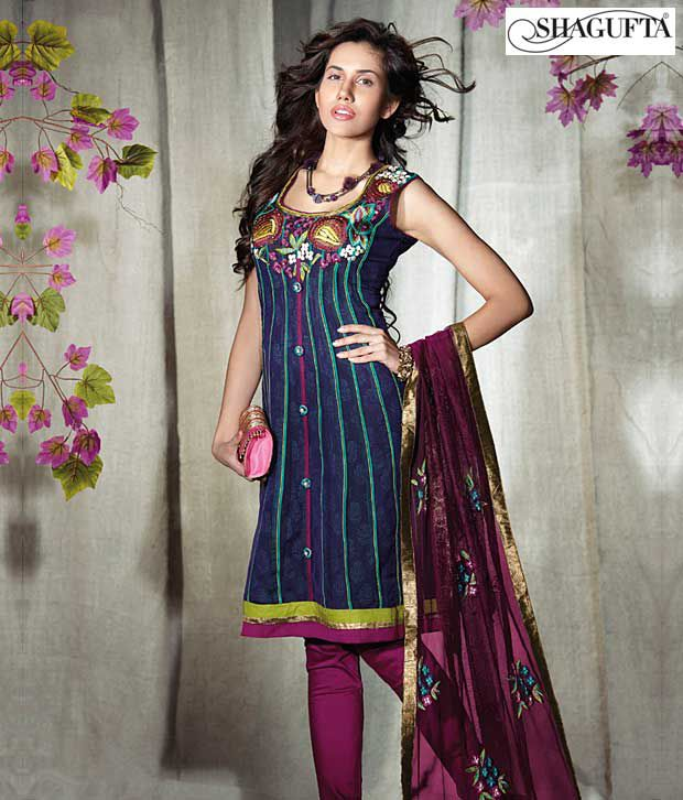 Shagufta Chanderi Banarasi Silk Suit- B-523