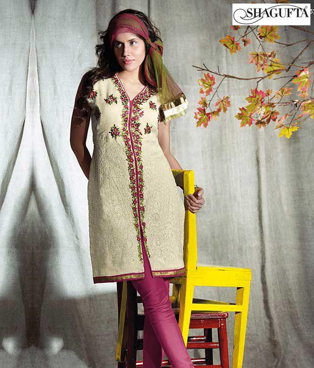 Shagufta Chanderi Banarasi Silk Suit- B-524
