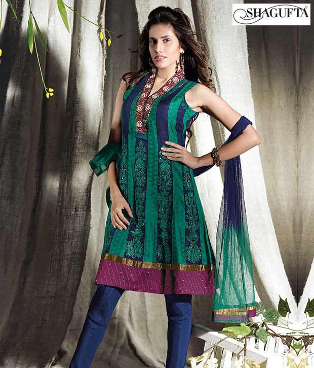 Shagufta Chanderi Banarasi Silk Suit- B-525