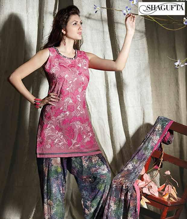 Shagufta Chanderi Banarasi Silk Suit-B-534