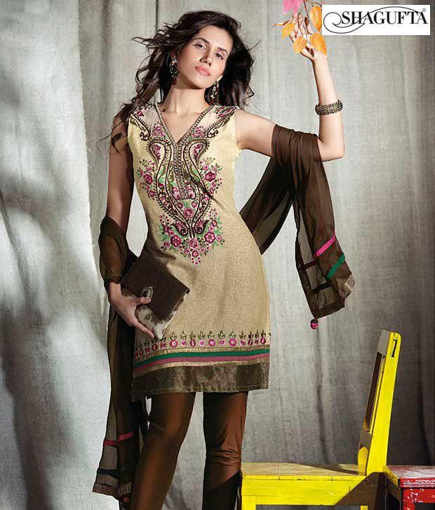 Shagufta Chanderi Banarasi Silk Suit-B-537