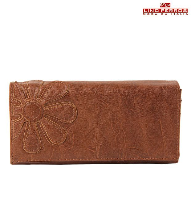 Lino Perros Lbrown Flower Wallet
