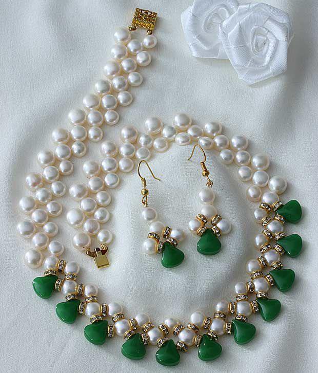 Deccan's Green Stone Pearl Set