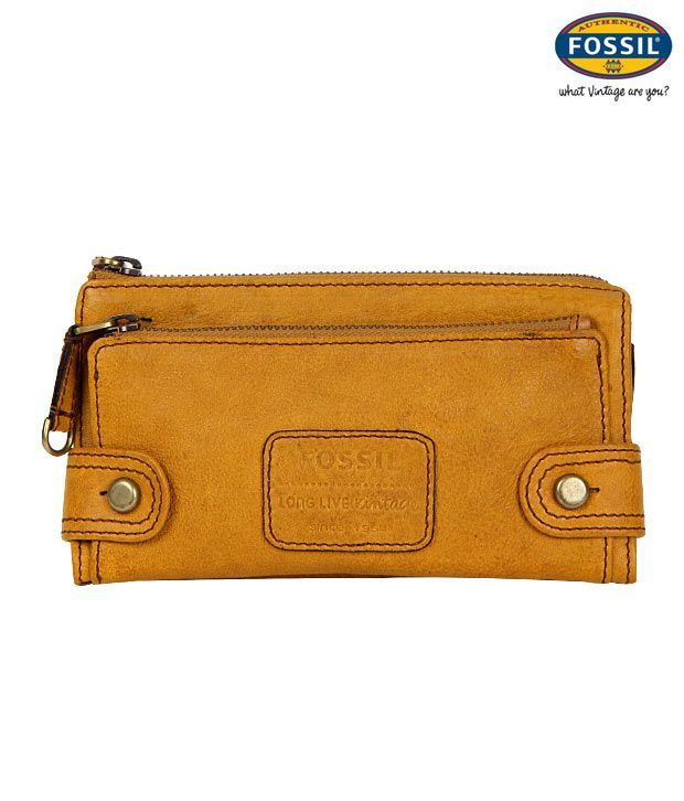 Fossil Mustard Leather Wallet