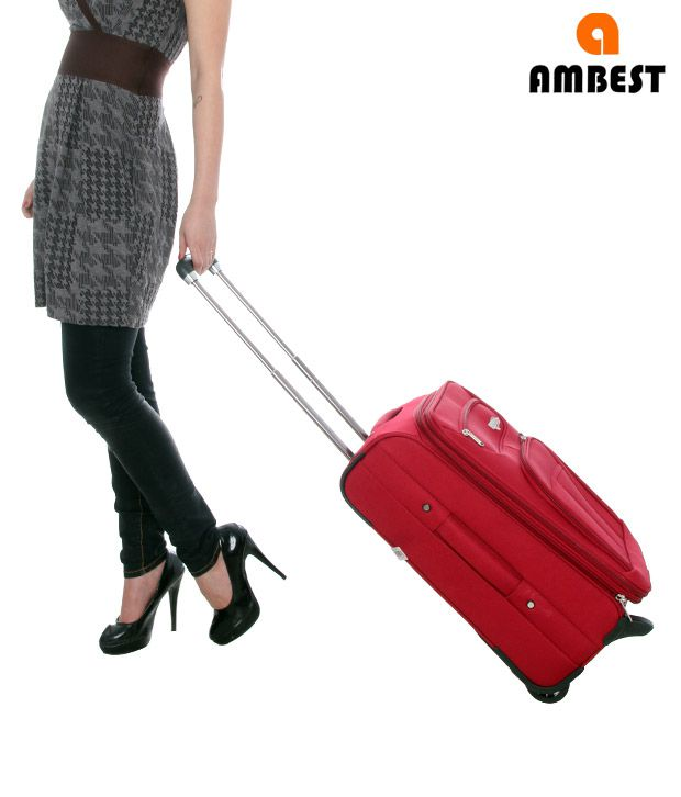 Ambest Red Trolley Bag