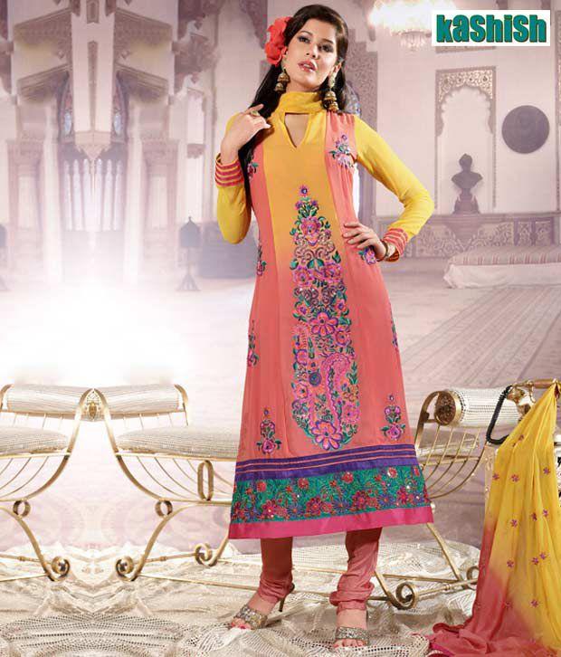 Kashish Peach Georgette Designer Suit-6901-B