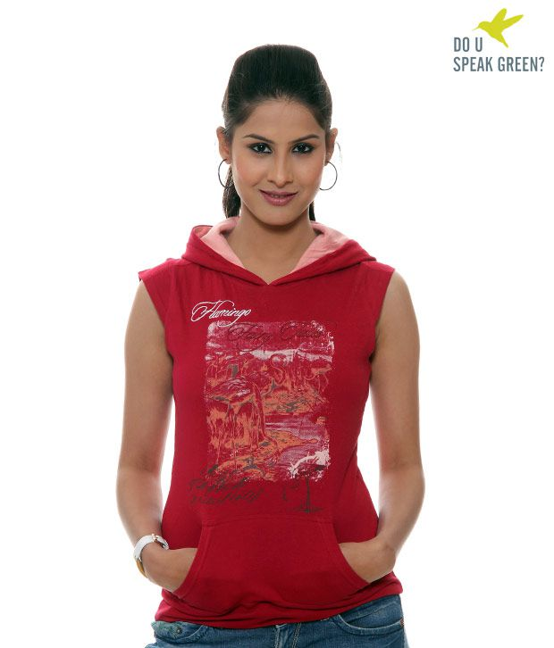 Dusg Red Sleeveless Hoodie-Du070Jr