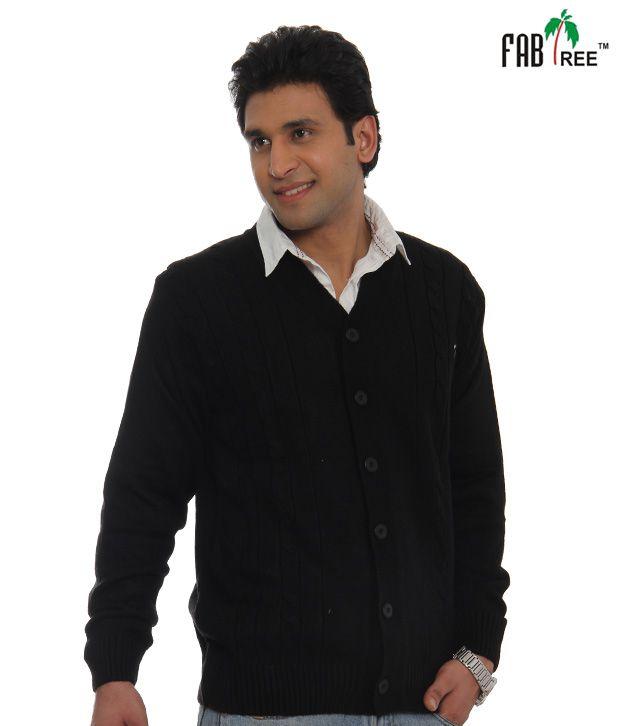 Fabtree Plain Black Sweater-SK-504-BK