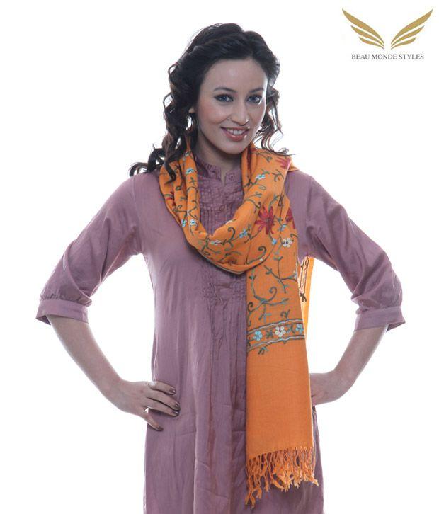 Beau Monde Saffron Pure Wool Shawl