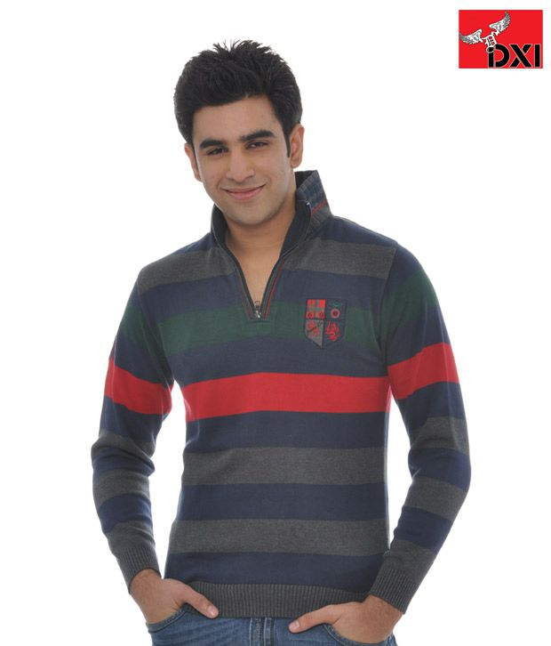 DXI Stripe Sweatshirt For Men- X1204-Blue
