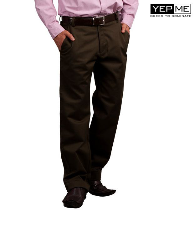 Yepme Brown Formal Trousers YPMTROU0003