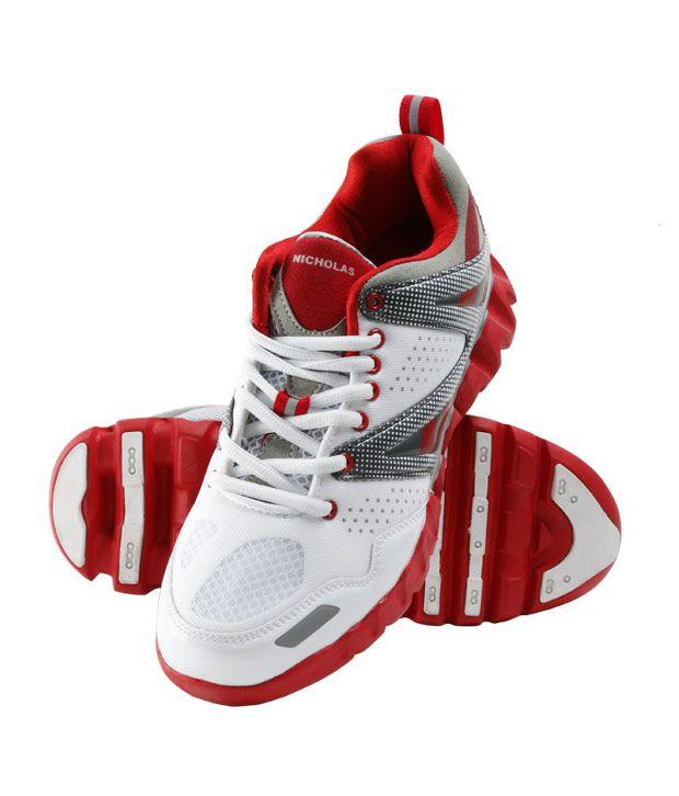Nicholas Men's Running White & Red Shoe