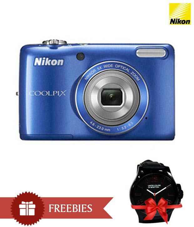 Nikon Coolpix L26 16.1MP Digital Camera (Blue) Combo with Watch