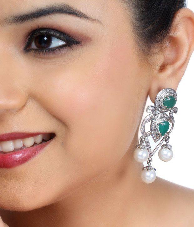 Asherahs Stunning Green Onyx Silver Earrings