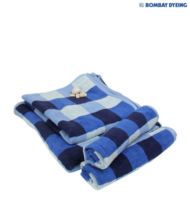 Bombay Dyeing Tulip Resona Blue Checks Bath & Hand Towel Set