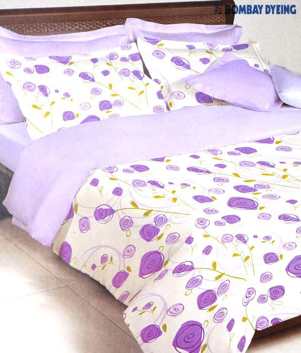 Bombay Dyeing La Rosa Purple Bed Sheet With 2 Pillow Covers with Free Rakhi Thali