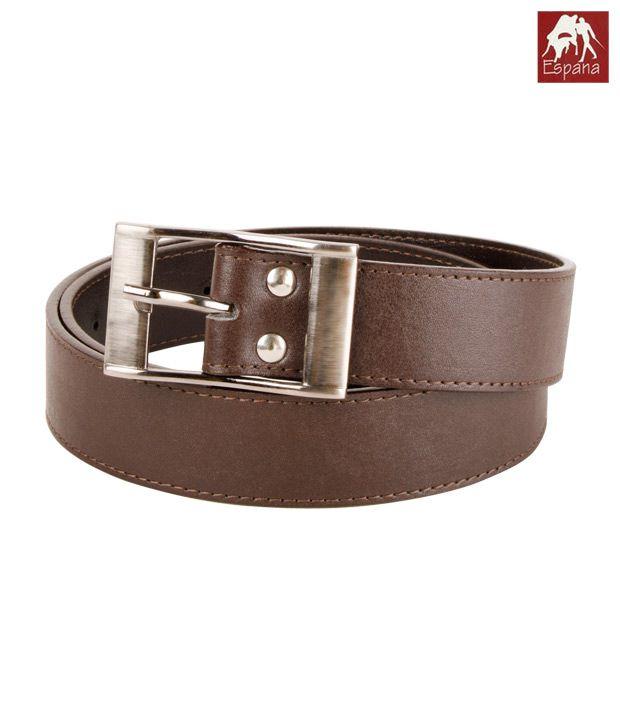 Espana Stitched Brown Thin Belt