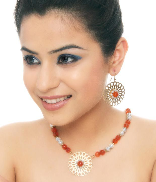 Isabella Sunflower Carnelian Necklace Set