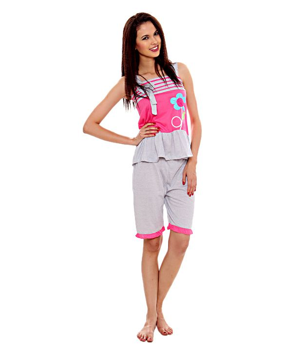 Kunchals Grey & Pink Shorts Set(N.W-2722GREY+PINKFREE)