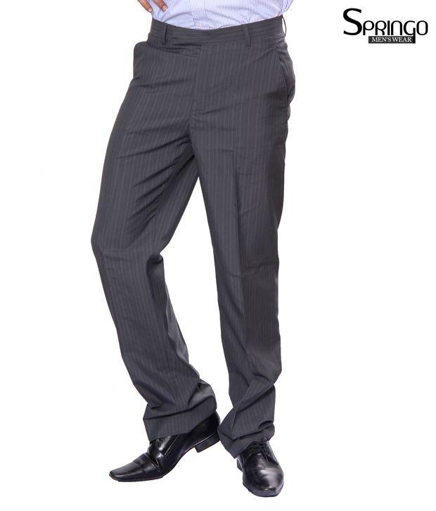 Springo Black - Grey Stripes Trousers (Springo-Greenline)
