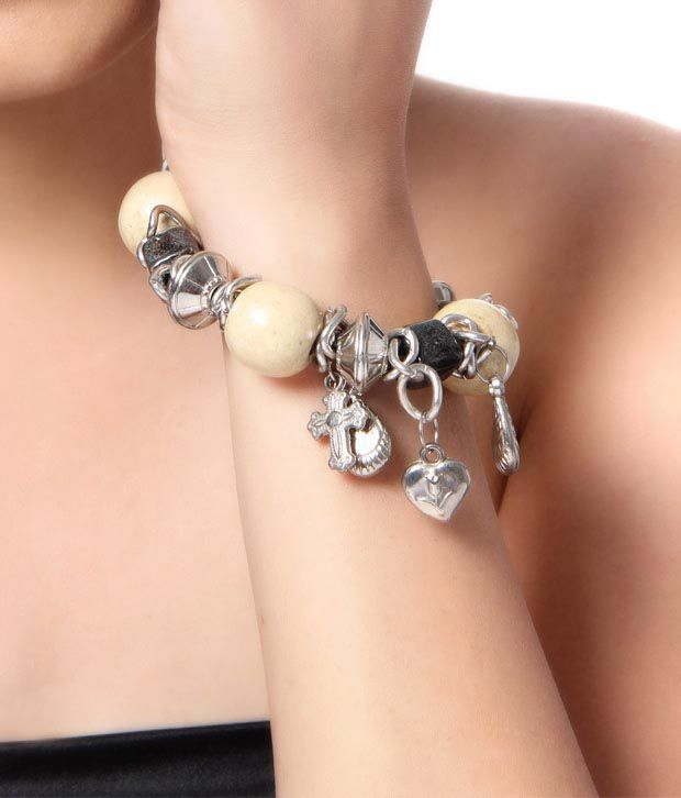 Paridhan Beige Coloured Charm Bracelet