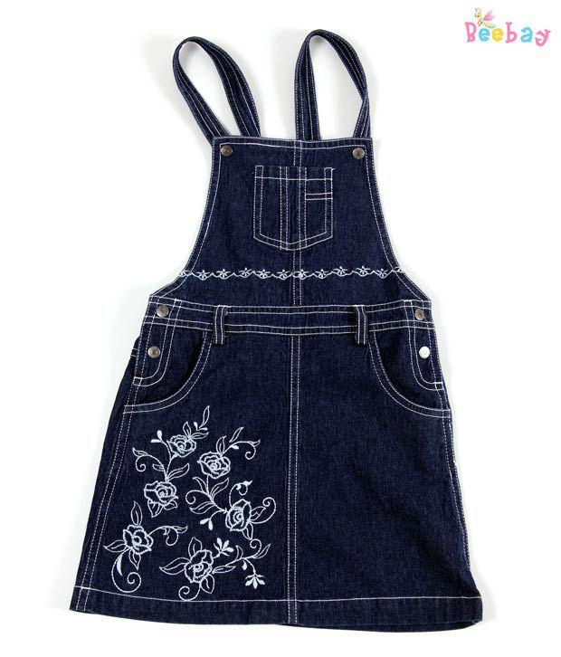 Beebay Embroidery Denim Dungaree Dress