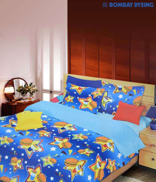 Style Of Bombay Dyeing Blue Glowing Bed Sheet Unique - Popular best sheets for sleeping Lovely