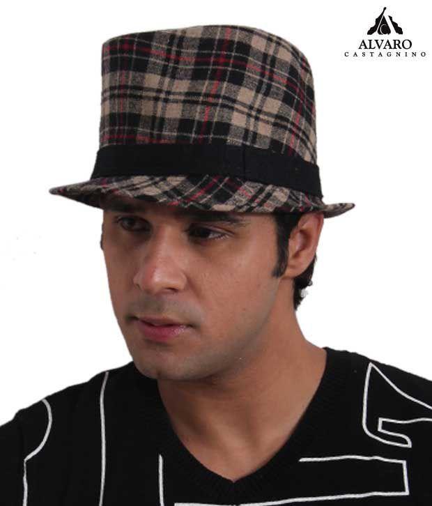 Alvaro Smart Beige & Black Checkered Print Hat
